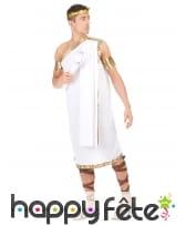 Costume tunique grecque blanche pour homme, image 2