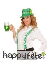 Chapeau tartan Irlandais avec trèfle, image 2