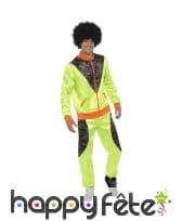 Costume training rétro vert pour homme, années 80
