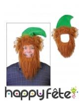 Chapeau vert de leprechaun avec barbe pour adulte