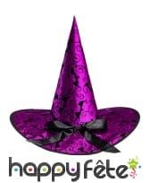Chapeau violet de sorcière avec chauve-souris, image 1
