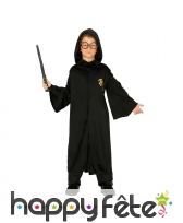 Costume veste noire à capuche de petit sorcier