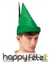 Chapeau vert pointu avec plume, pour adulte