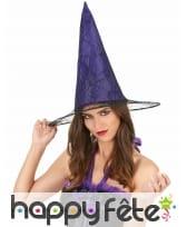 Chapeau violet pointu effet toile araignée, adulte, image 1