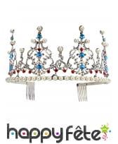 Diadème argenté avec perles pour femme, luxe