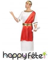 Déguisement blanc de Jules César avec toge rouge, image 1