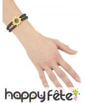 Double bracelet de perles noires avec tournesol, image 1
