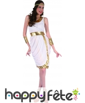 Déguisement blanc et doré de déesse Grecque, image 3