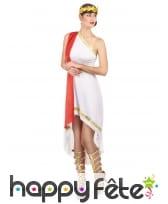 Déguisement blanc et rouge de césar pour femme