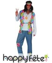 Déguisement bleu et coloré de hippie pour homme, image 3