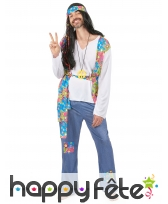 Déguisement bleu et coloré de hippie pour homme