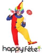 Déguisement bicolore rouge et jaune de clown