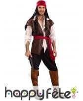 Déguisement complet de pirate marron adulte