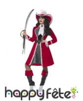 Déguisement capitaine pirate rouge pour femme