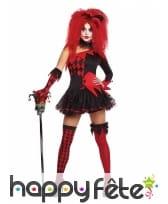 Déguisement court rouge noir de femme arlequin