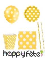 Décos d'anniversaire jaunes à pois blanc