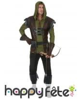 Déguisement d'archer médiéval marron vert, adulte