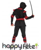 Déguisement d'assassin ninja noir rouge adulte, image 1
