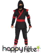 Déguisement d'assassin ninja noir rouge adulte