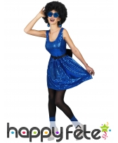 Déguisement disco bleue paillettée pour femme