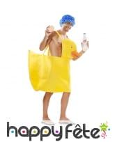 Déguisement de canard de bain jaune avec bonnet