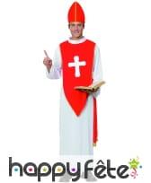 Déguisement de cardinal rouge et blanc pour homme, image 3