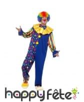 Déguisement de clown bleu à pois, deluxe