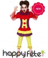 Déguisement de clown jaune et rouge pour fille