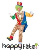Déguisement de clown motif carreaux multiclores