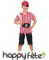 Déguisement d'enfant pirate ligné rouge et blanc