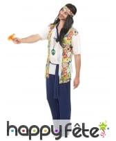 Déguisement de hippie avec pantalon bleu, image 1