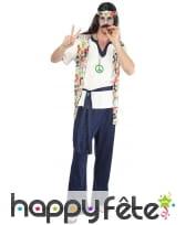 Déguisement de hippie avec pantalon bleu, image 3
