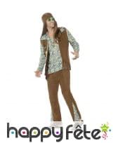 Déguisement de hippie, gilet à franges marron, image 1
