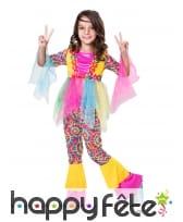 Déguisement de hippie multicolore pour fille