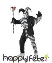 Déguisement de joker squelette noir et blanc