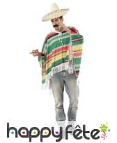 Déguisement de mexicain multicolore pour adulte