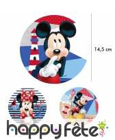 Disque de Minnie ou Mickey de14,5 cm en azyme