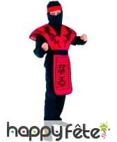 Déguisement de ninja noir et rouge pour garçon