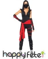 Déguisement de ninja pour femme, rouge et noir