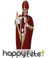 Déguisement de pape avec cape rouge