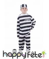 Déguisement de petit prisonnier rayé noir et blanc