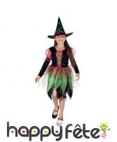 Déguisement de petite sorcière verte et noire