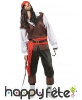 Déguisement de pirate noir et rouge pour homme, image 1