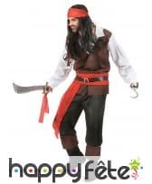 Déguisement de pirate noir et rouge pour homme, image 2