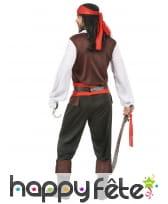 Déguisement de pirate noir et rouge pour homme, image 3