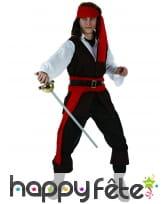 Déguisement de pirate noir et rouge pour homme