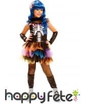 Déguisement de squelette tutu coloré pour fille