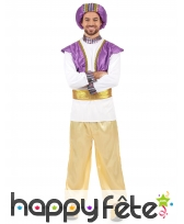 Déguisement de sultan violet, blanc et doré