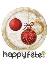 Déco de table de Noël imprimée boules or et rouge, image 1