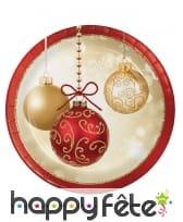Déco de table de Noël imprimée boules or et rouge, image 2